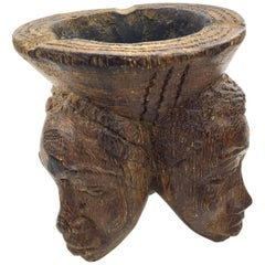 1960 Ashtray, Sculpture in Wood , Three Heads of Women