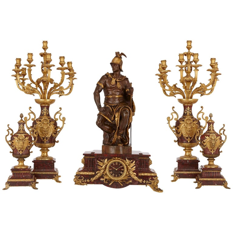 Marble, Gilt and Patinated Bronze Five-Piece Clock Set by Ferdinand Barbedienne
