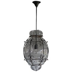 Stylish and Handcrafted Venetian Pendant Blown Glass in Metal Frame Ceiling Lamp