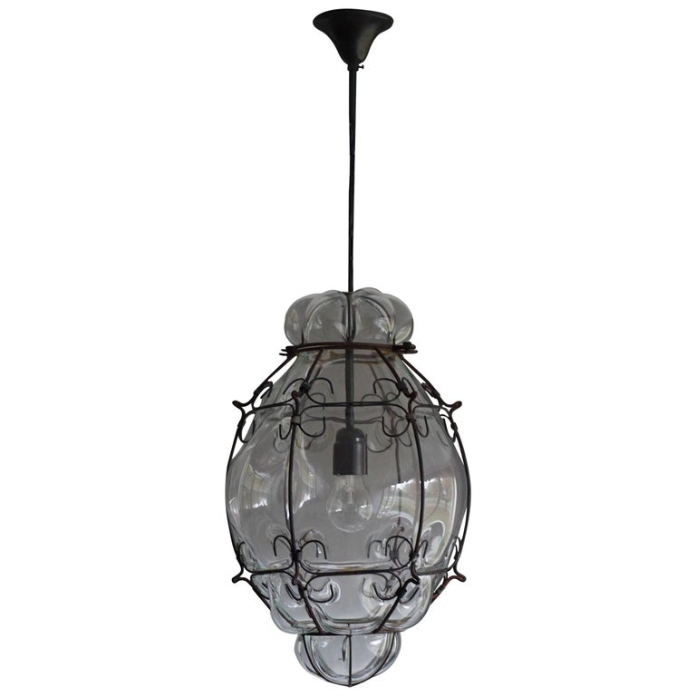 Stylish and Handcrafted Pendant Blown Glass in Metal Frame Ceiling Lamp
