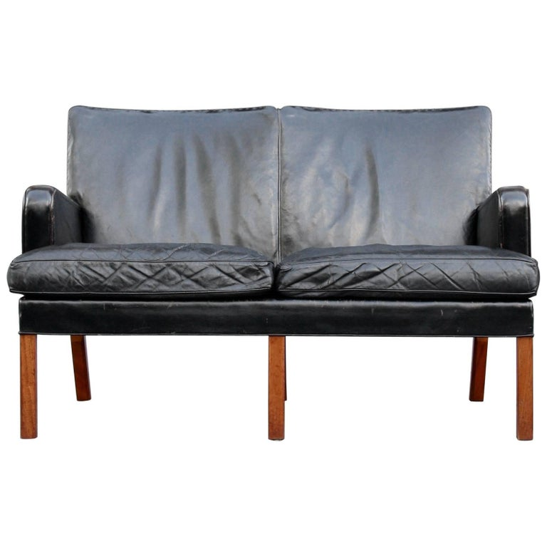 Kaare Klint Model 5313 Two-Seat Leather Settee by Rud Rasmussen, 1935