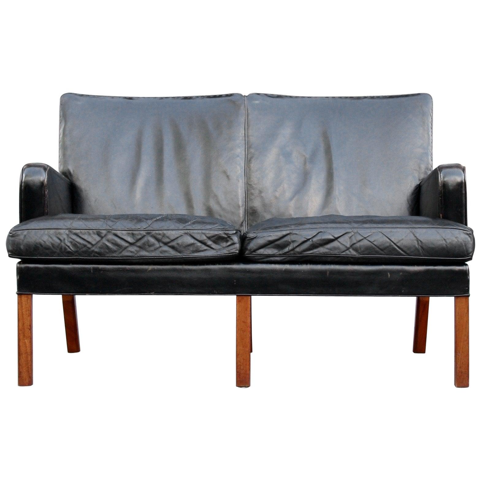 Kaare Klint Model 5313 Two-Seat Leather Settee by Rud Rasmussen, 1935