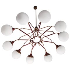 Chandelier 1950 White Brass Black and Edge, Circular Glass Brass and Iron