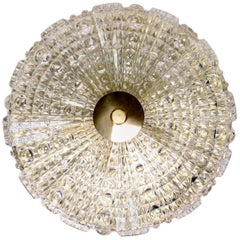Orrefors Crystal and Brass 1950s Flush Mount by Carl Fagerlund