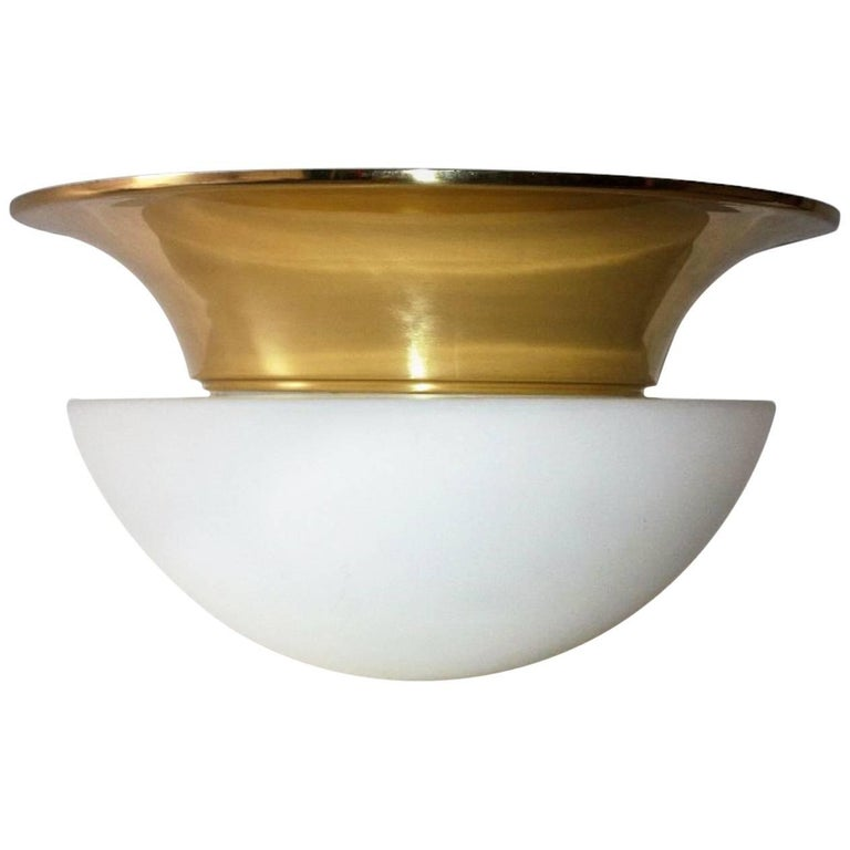Large Midcentury Glass and Brass Flush Mount by Limburg, Germany, 1980s
