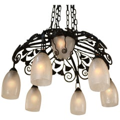 Daum Freres Glass and Iron Chandelier in Style of Edgar Brandt