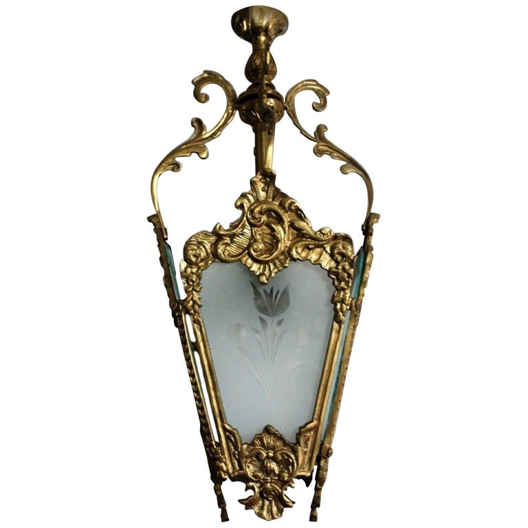 Hanging Vintage Brass and Etched Glass Lantern, circa 1960s