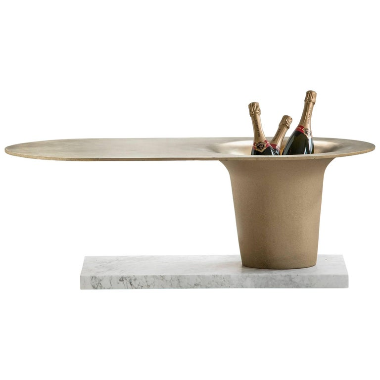 'The Champagne Table'  Marble Stone Cast Brass by Master Swedish Bell Maker