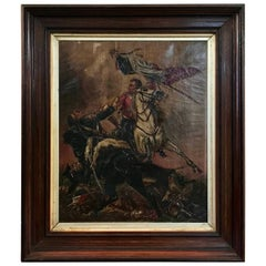 19th Century French Franco-Prussian War Oil Painting, Signed