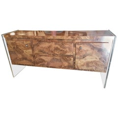 Faux Burl and Lucite Credenza Buffet Sideboard Dresser Chrome