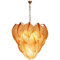 Original Murano Glass Leaves Chandelier by A.V. Mazzega, Italy, 1970s