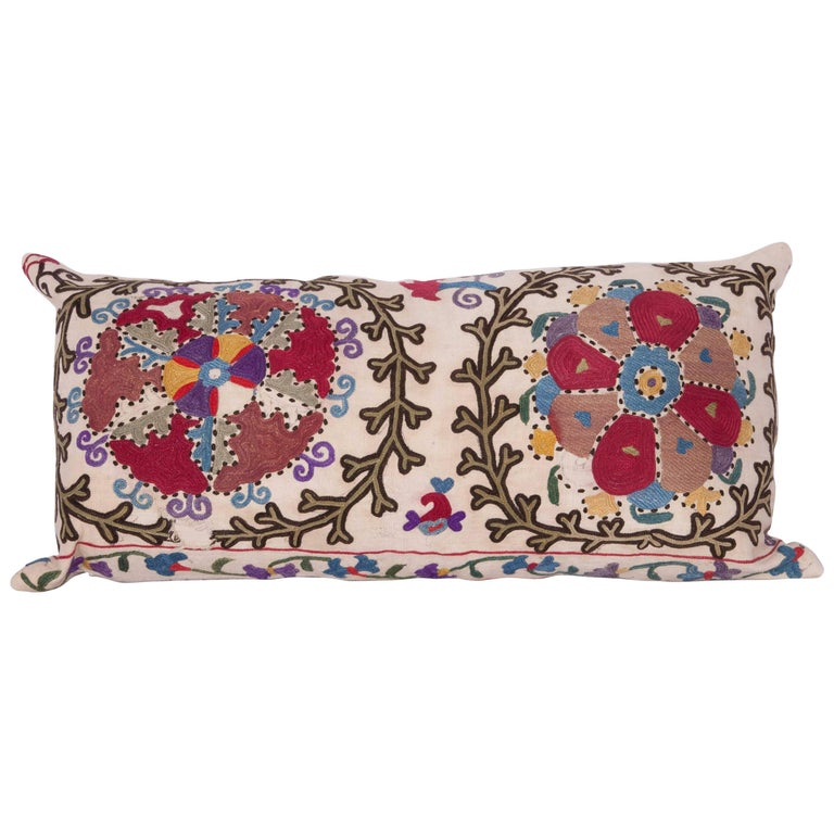 Antique Pillow Made Out of a Late 19th Century, Uzbek Bukhara Suzani For Sale