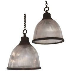 Pair of Holophane Ribbed Glass and Nickel Pendant Ceiling Light Fixtures
