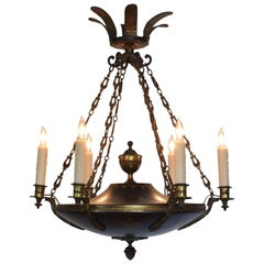 French Empire Style, Cast and Gilt Metal Six-Light Chandelier, Late 19th Century