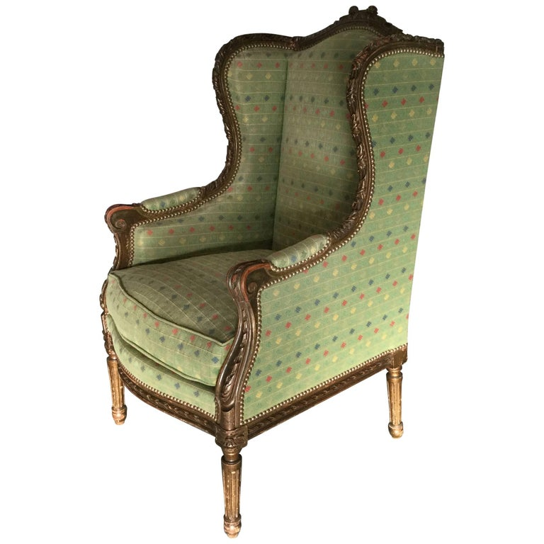 elegant french louis xvi style bergere for sale at 1stdibs. Black Bedroom Furniture Sets. Home Design Ideas