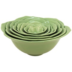 Set of Green Lettuce Leaf Bowls