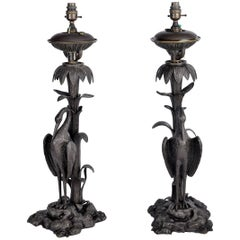 Pair of 19th Century Bronze Crane Lamps