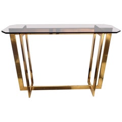 Vintage Mid-Century Modern Brass Bronze Transitional Smoke Glass Console Table