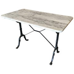 Authentic Wrought Iron and Marble French Bistro Table