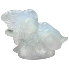 'Les Inseparables', an Art Deco Glass Figurine of Love Birds by Sabino