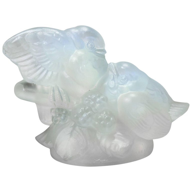 Les Inseparables\', an Art Deco Glass Figurine of Love Birds by ...
