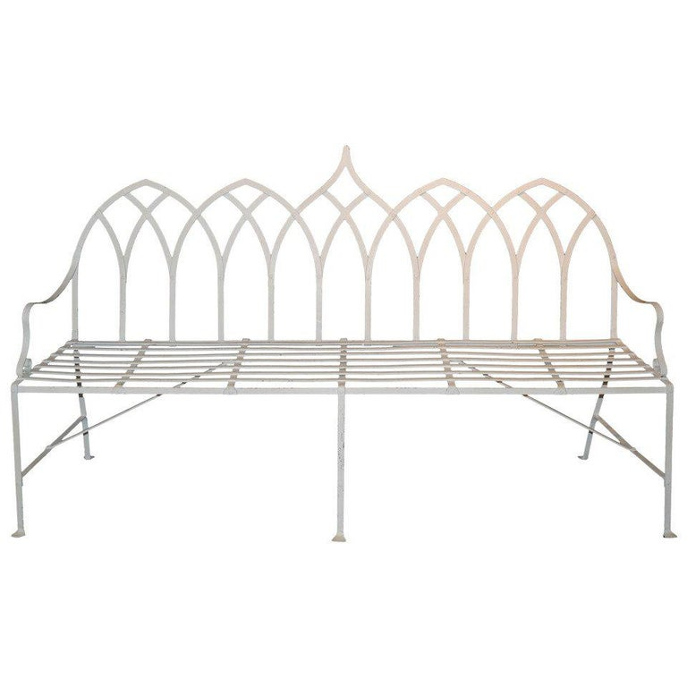 Gothic Iron Indoor or Outdoor Long Bench For Sale