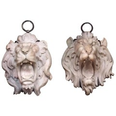 Pair of Italian Carved Marble Lion Heads