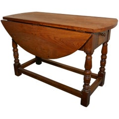 French Country Elm Drop-Leaf Table, Kitchen Dining Table