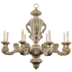 French 20th Century Carved and Painted Wood Eight-Light Chandelier