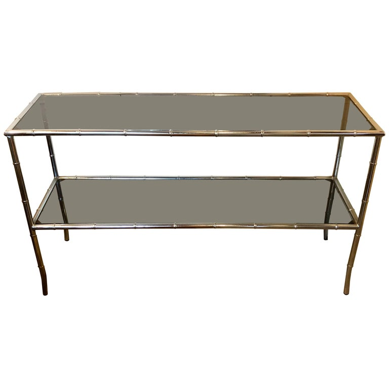 Faux Bamboo Chrome Two-Tier Console Table with Smoke Glass Tops Manner of Jansen