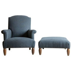 Pair of Vintage Armchairs with Ottoman with Carved Wooden Legs