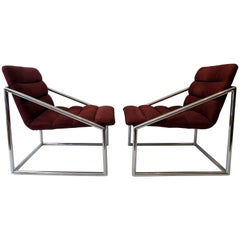 Mid-Century Modern Chrome Cube Sling Club Lounge Chairs, circa 1970s
