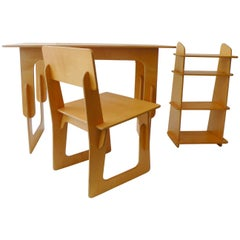 Post War Knockdown Furniture Co, Plywood Three-Piece Office Desk Set