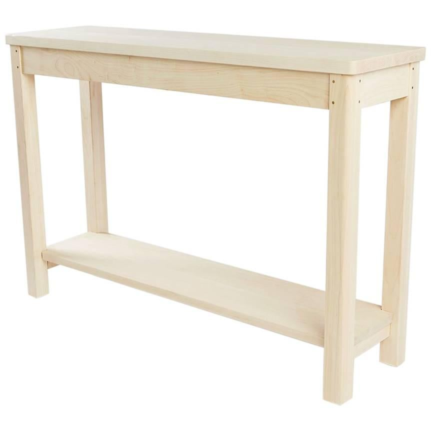 Classis 70u0027s Parson Style Console Table. Quilted Maple At 1stdibs