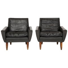 Pair of Midcentury Black Leather Chairs from France