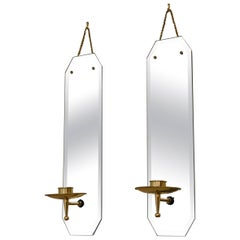 Pair of Modern Brass and Beveled Mirror Wall Sconces Candleholders