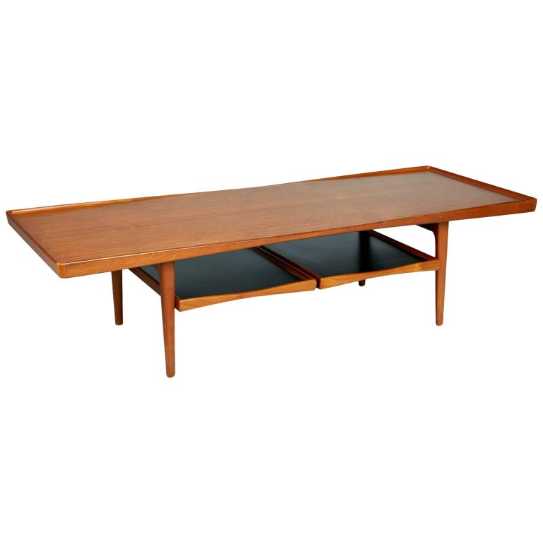 Danish Modern Coffee Table With Removable Trays By Poul