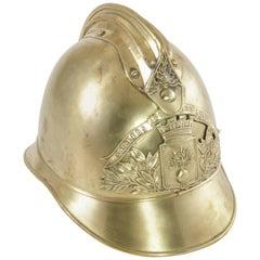 Brass Fireman's Helmet with Original Plaque of Origin in France, circa 1900