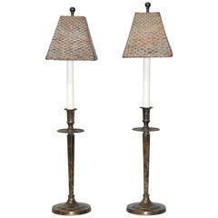 Pair of Maitland-Smith Buffet Lamps with Verdigris Copper Finish & Copper Shades
