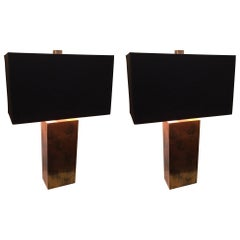 Sophisticated Pair of Mid-Century Modern Copper Lamps