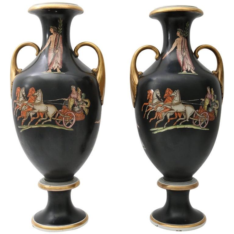 Pair of 19th Century Neo-Classical Grand Tour Porcelain Vases in Black