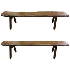 Two Stunning Mid-Century Modern Live Edge Walnut Benches
