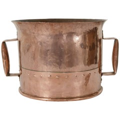 Late 19th Century French Riveted Copper Water Bucket with Two Handles