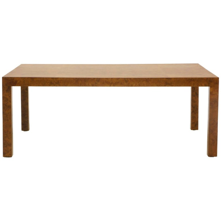 Milo Baughman Coffee Table for Directional, Burl Olive Wood, Excellent