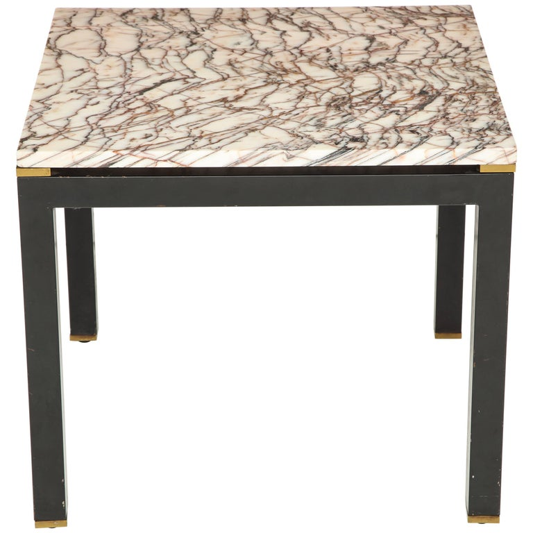 Italian Iron Parson's Style Side Table with Marble Top and Brass Details 1