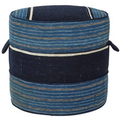 NK Collection Small Round Hassock Upholstered in Indigo African Fabric
