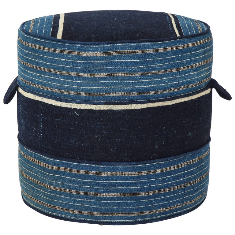 NK Collection Small Round Hassock Upholstered in Indigo African Fabric For Sale