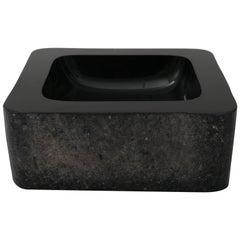 Signed Karl Springer Murano Scavo Black Glass Square Dish