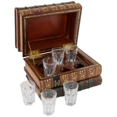 Early 20th Century Liqueur Box Made from Books with Six Baccarat Crystal Glasses