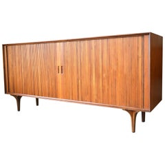 Walnut Tambour Door Credenza by Robert Baron for Glenn of California, circa 1965